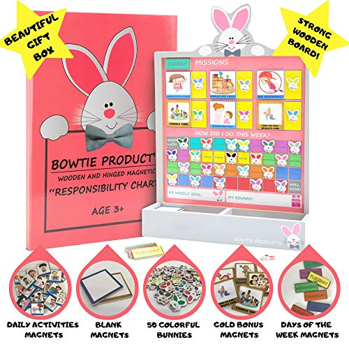 BOWTIE KIDS Premium Reward Chart - Educate Differently With Our Fun Responsibility Bunnies. Our Chore Chart Inspire Good Habits.