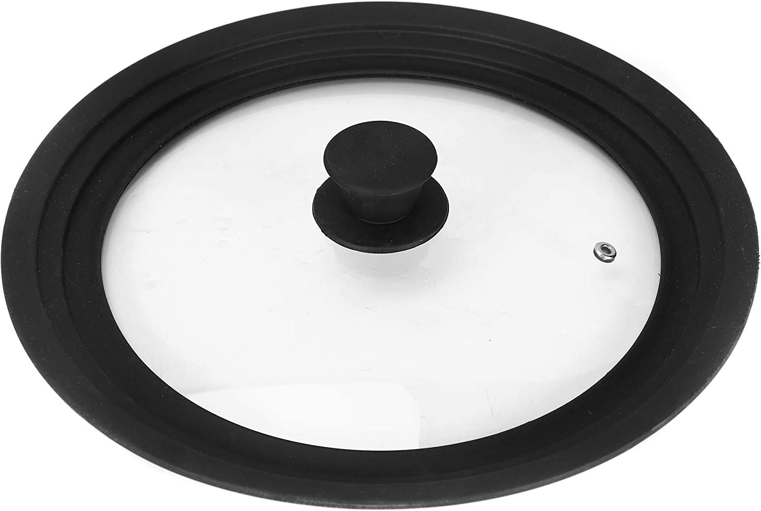 Universal Lid for Pans,Pots and Skillets Tempered Glass with Food grade silicone Rim Fits 10 11 12 inch Cookware (26/28/30cm) Large Black