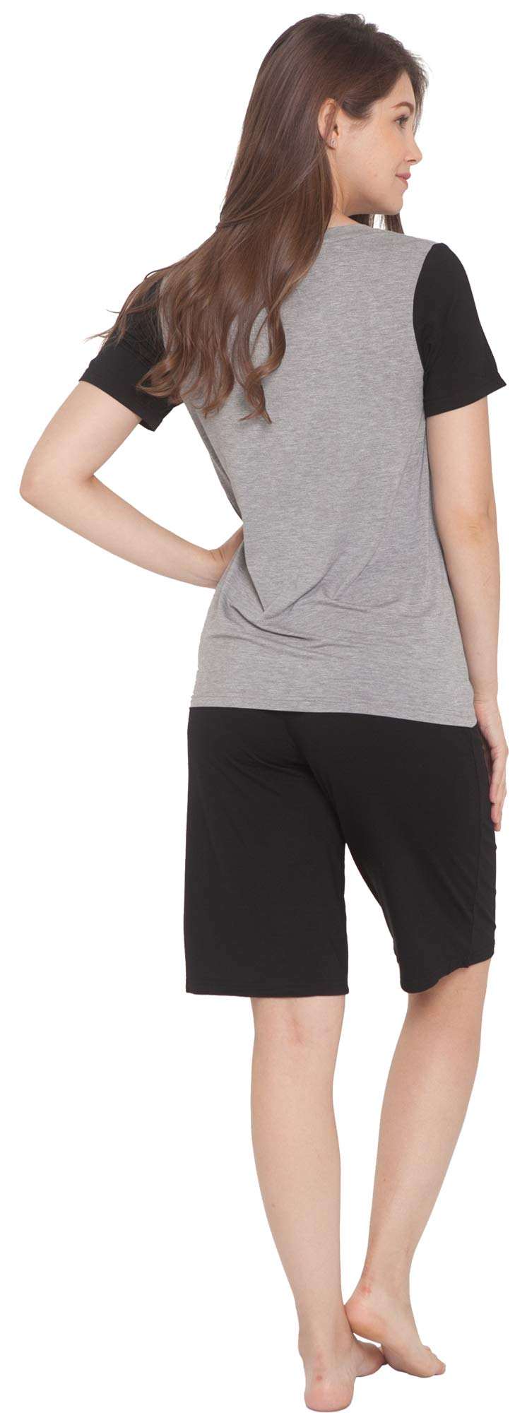 Lazycozy Women'S Scoop Neck Short -Sleeve Pajamas Set -