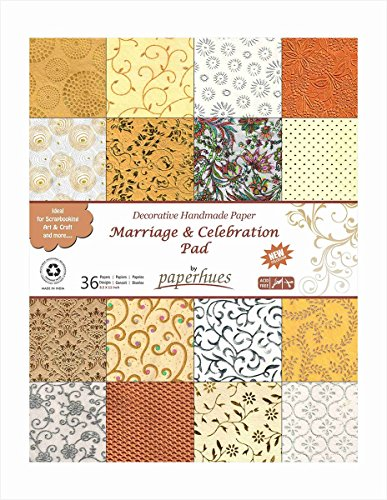 Decoupage Pad (Paperhues Wedding Scrapbook Paper 8.5x11 Pad, 36 Sheets Celebration Pad. Decorative Specialty Handmade Origami Paper Pad for Wedding Cards, Gift Wrap, Scrapbook, Decor, Art Craft Projects)