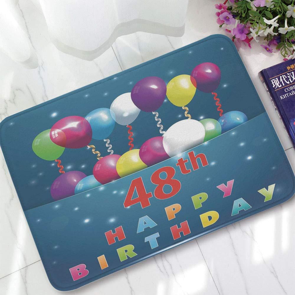 YOLIYANA Modern Carpet,48th Birthday Decorations,for Living Room Bathroom,15.75''x23.62'',Greeting Happy Party Event Balloons Ribbon