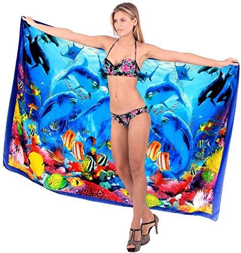 La Leela dise�ador del bikini del traje de ba�o del vestido pareo beachwear de las mujeres del traje de ba�o cubrir envoltura Azul | Rojo
