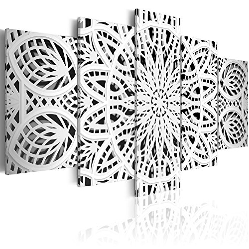 murando Cuadro en Lienzo Mandala Zen SPA 200x100 cm Impresion de 5 Piezas Material Tejido no Tejido Impresion Artistica Imagen Grafica Decoracion de Pared Blanco Oriente f-A-0581-b-n