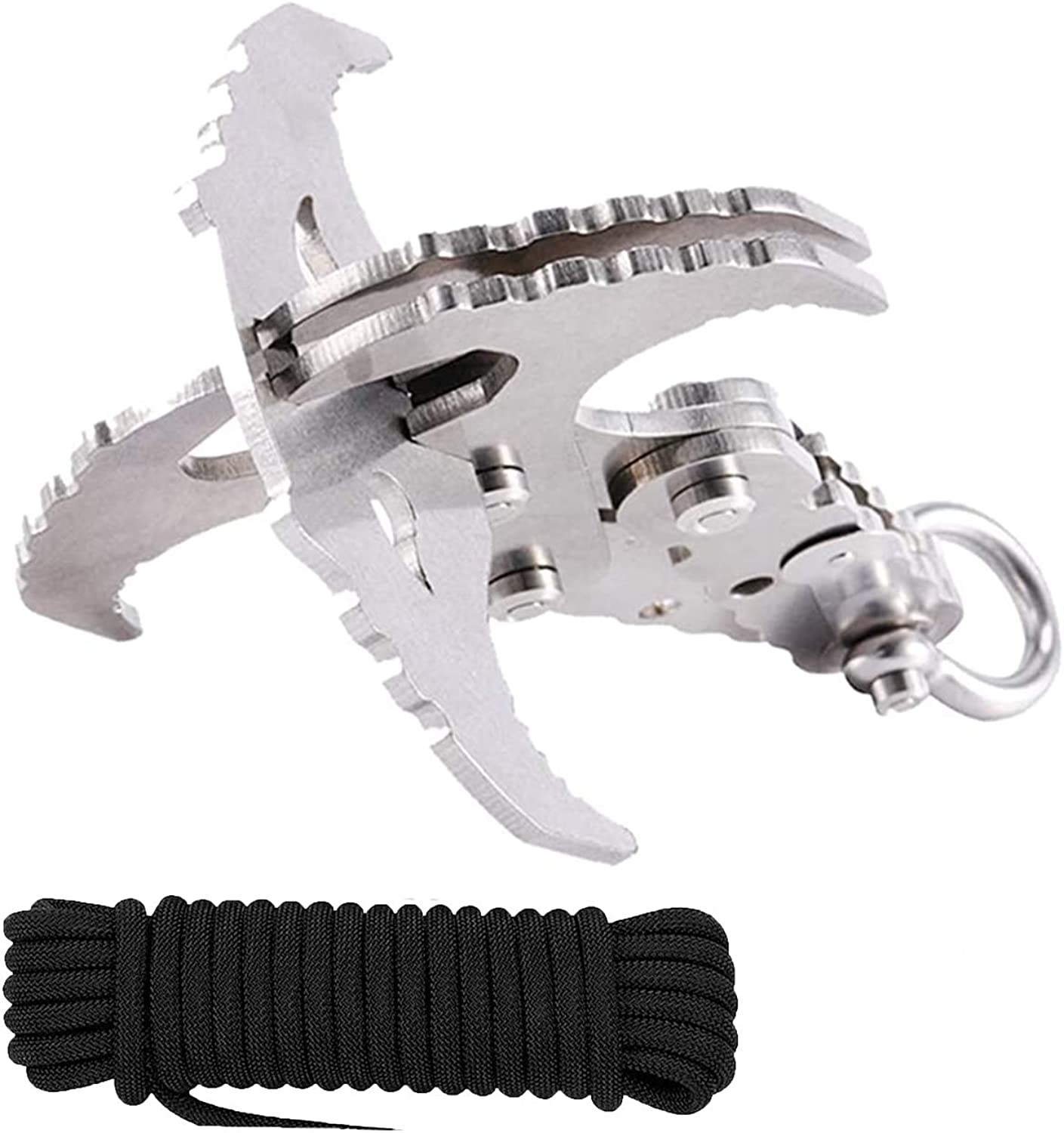 Grappling Hook Folding Gravity Rock Climbing Hooks 3 Claw for Survival Hiking