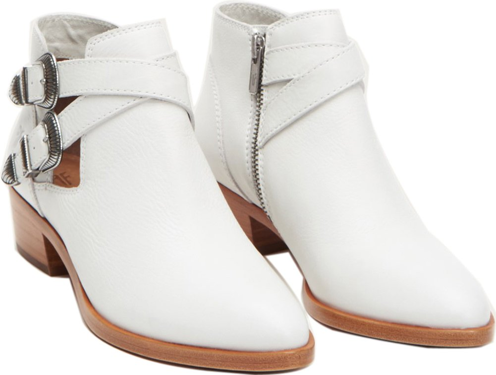 FRYE Women's Ray Western Shootie Ankle Boot B071G8YSTY 6.5 B(M) US|White Soft Full Grain