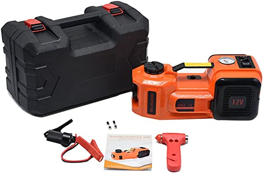 Autool Elektrischer Hydraulischer Wagenheber 12 V Gleichstrom 3 5 T 3 5 T Led Taschenlampe 3 In 1 Set Mit Sicherem Hammer Elektrischer Wagenheber Auto
