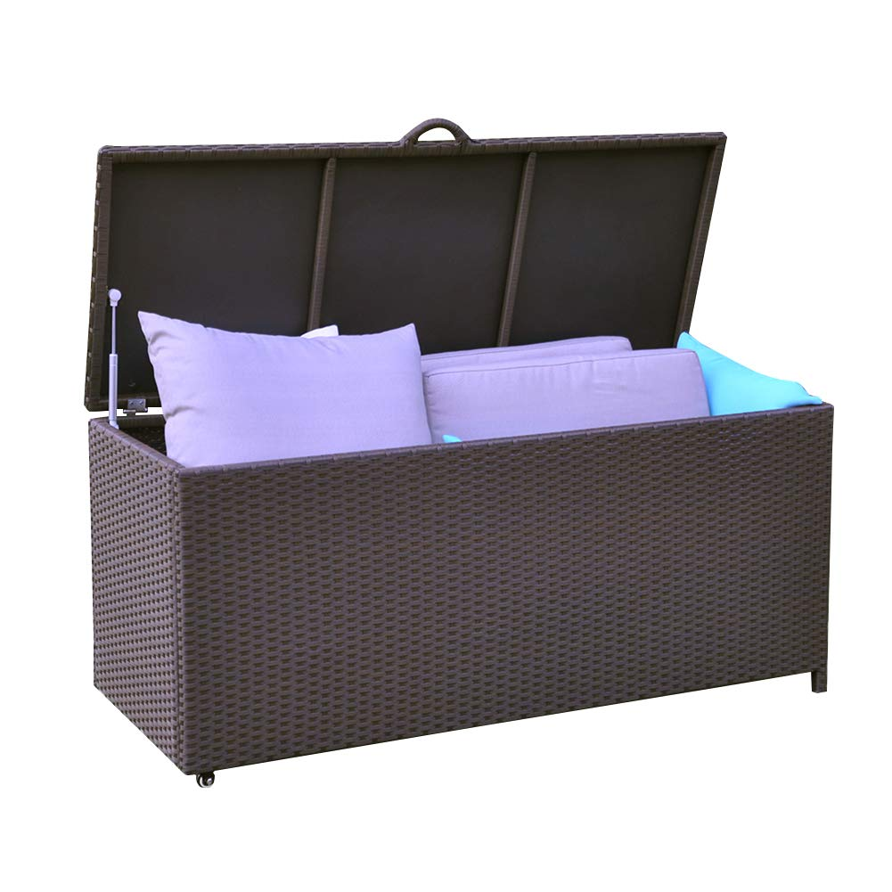 86 Gallon All Weather Resin Wicker Deck Box Storage Container Bench Seat, Anti Rust, UV Resistant, Espresso ART TO REAL