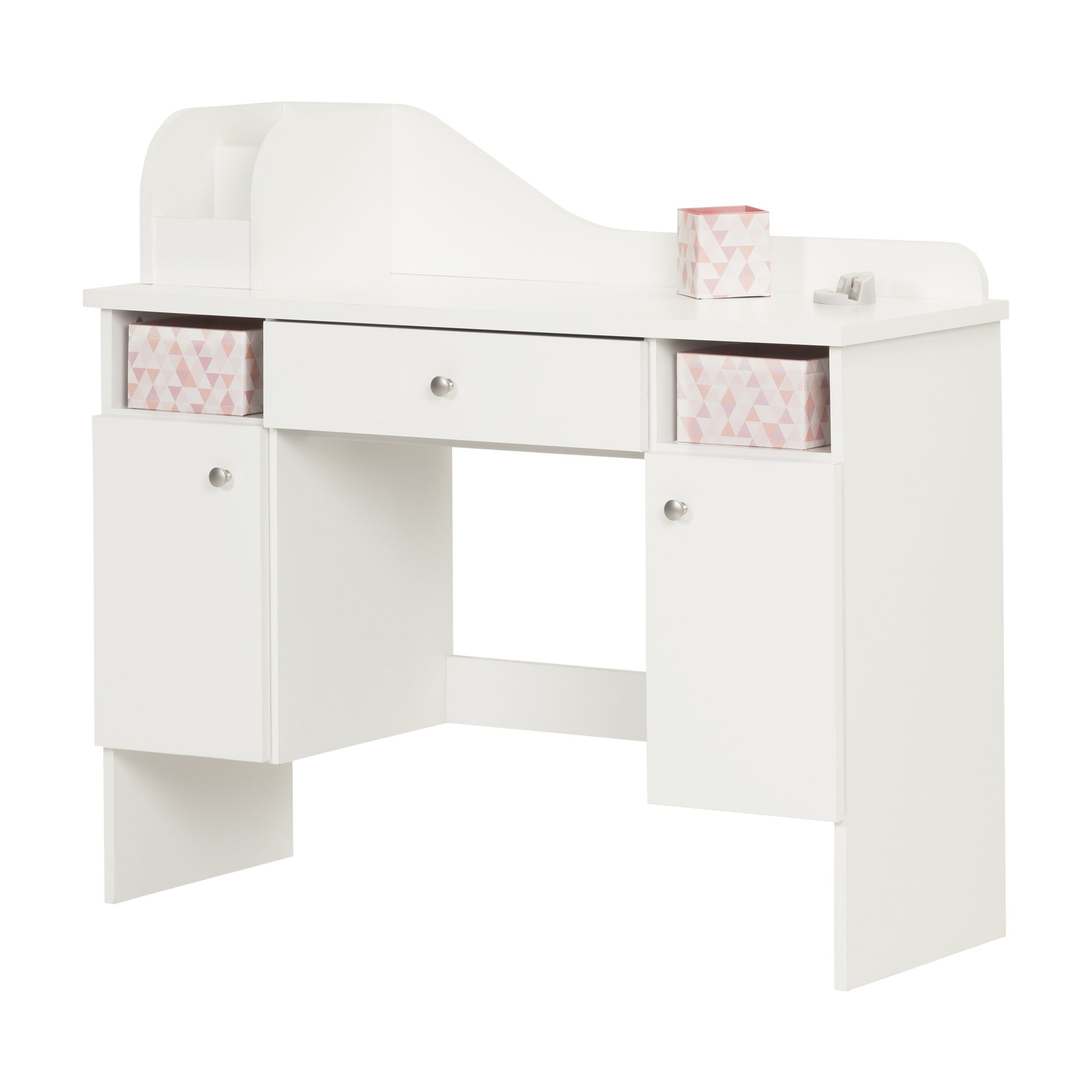 South Shore Vito Makeup Desk with Drawer, White