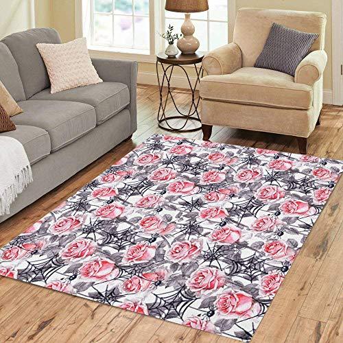 (Pinbeam Area Rug Vintage Pink Roses Spiders Webs Halloween Watercolor Black Home Decor Floor Rug 3' x 5')