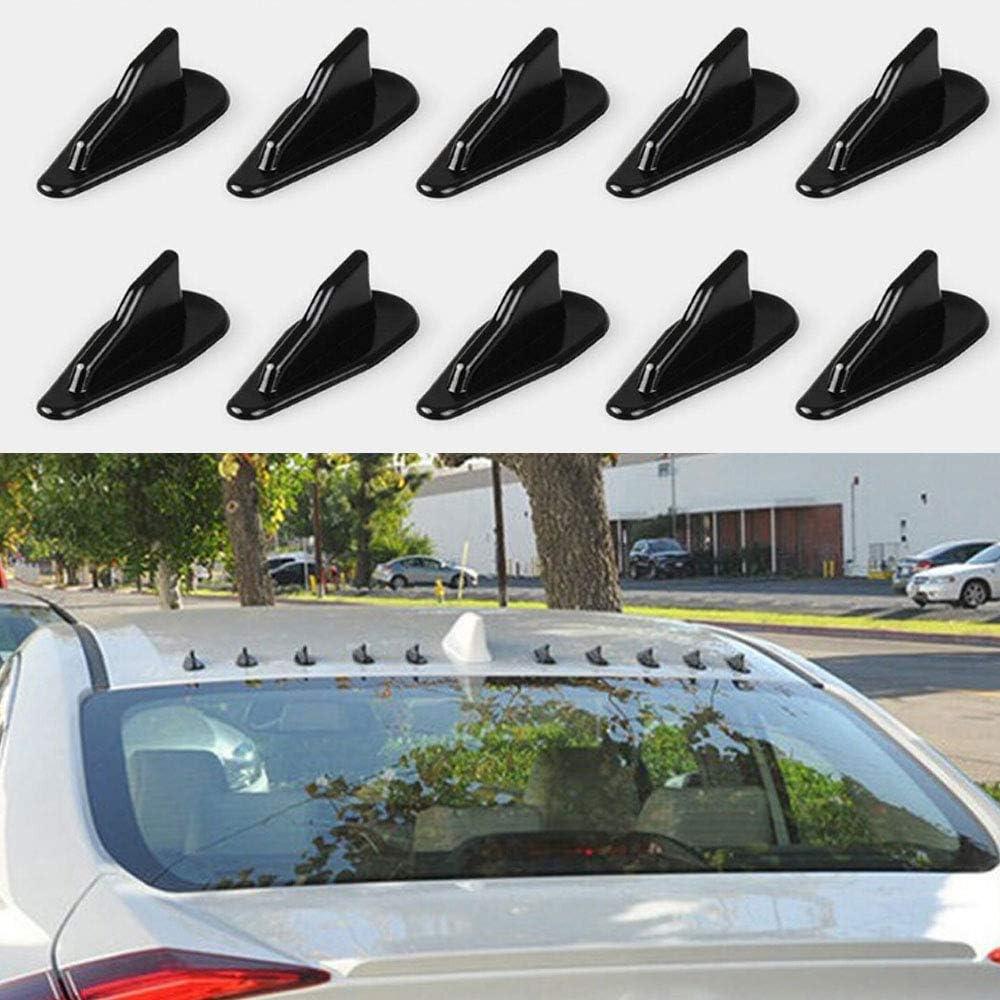 Universal 10 St/ück Auto Dach Shark Flossen Spoiler Fl/ügel Kit Dach Dekorative Antenne Schwarz