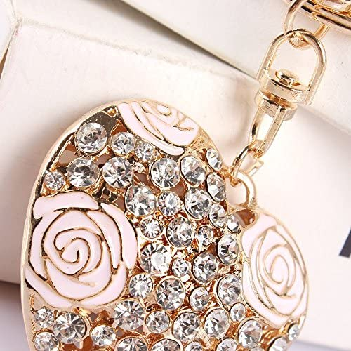 Porte cl/é//pendentif en forme de c/œur avec cristaux et roses id/éal /à accrocher /à un sac ou /à offrir en cadeau