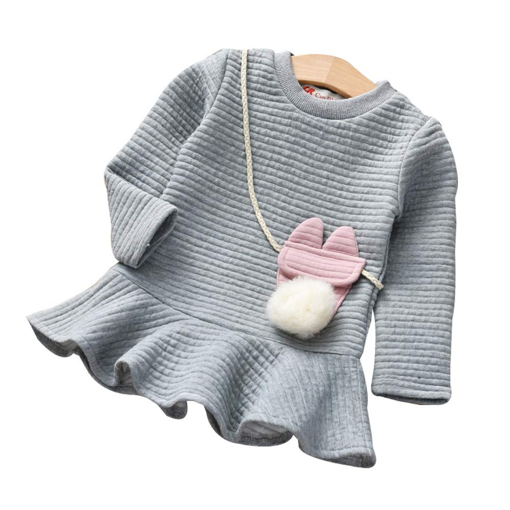 Zerototens Girls Dress,1-5 Years Old Toddler Kids Tops Autumn Winter Baby Girls Long Sleeve Cartoon Striped Princess Dress Children Sweatshirt Dress Party Dress Casual Outfit