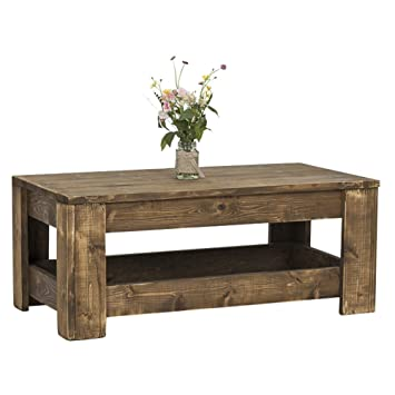 Knotty Cedar Coffee Table With Rustic Dark Walnut Wood Stain By Del Hutson  Designs (16H