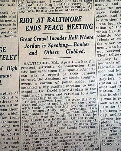 Baltimore Riot of 1917 - Supreme Court Case - Forced Segregation Housing Laws THE NEW YORK TIMES, April 2, 1917 The front page has one column -