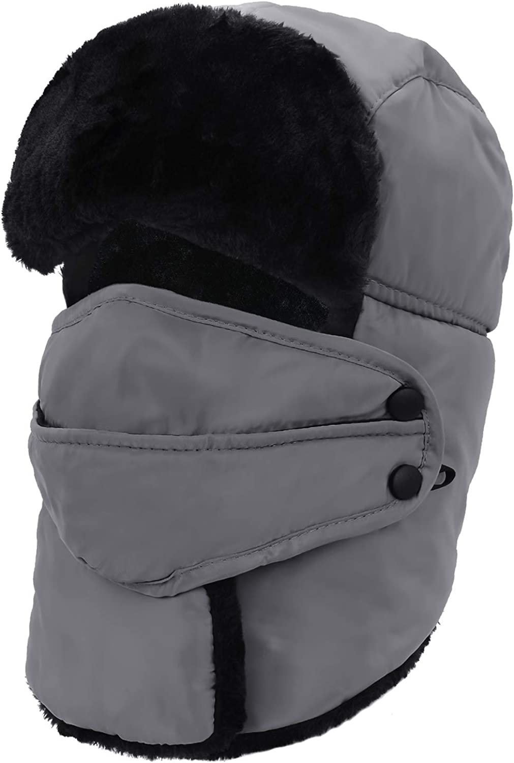 Durio Trapper Hat for Men Winter Trooper Hat with Mask Russian Ushanka Hat Men with Faux Fur