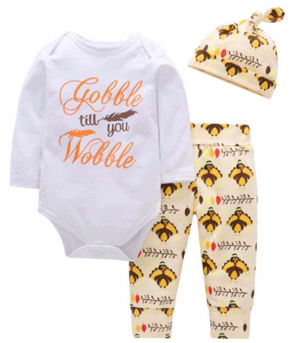 MOUSYA Newborns Thanksgiving Letter Print Romper Outfit Turkey Print Pants Set