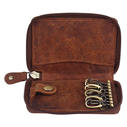 Price comparison product image Rustic Town Slim Compact Key Holder Key Pouch Leather Gift for Him Her