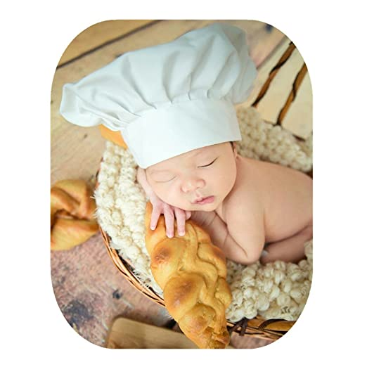 48115cce5c456 Fashion Newborn Boy Girl Baby Photography Props Outfits Photo Shoot Chef  Styling Hat White