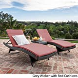 Savana 3Pc Outdoor Wicker Lounge with Water Resistant Cushions & Coffee Table (Grey/Red)
