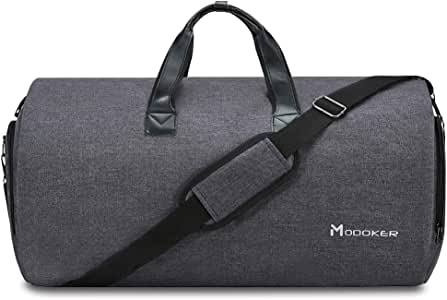 Convertible Garment Bag with Shoulder Strap, Modoker Carry on Garment Duffel Bag for Men Women - 2 in 1 Hanging Suitcase Suit Travel Bags (Black)