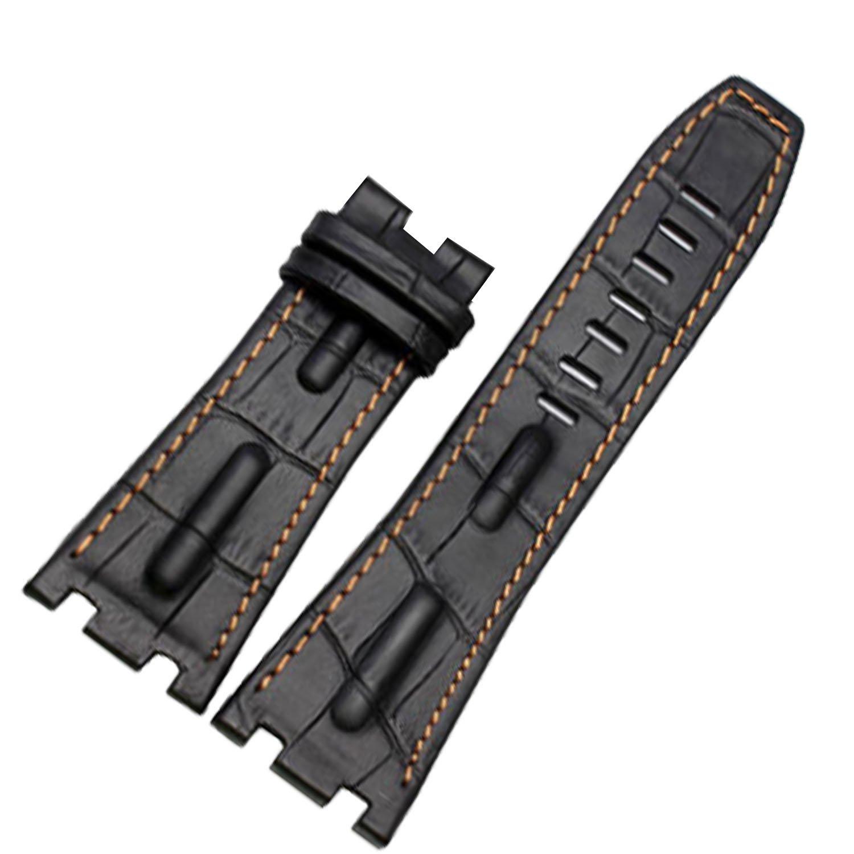 28 mmブラックレザー時計ストラップバンドオレンジステッチのAPロイヤルオーク腕時計バックル  B0773N9C18