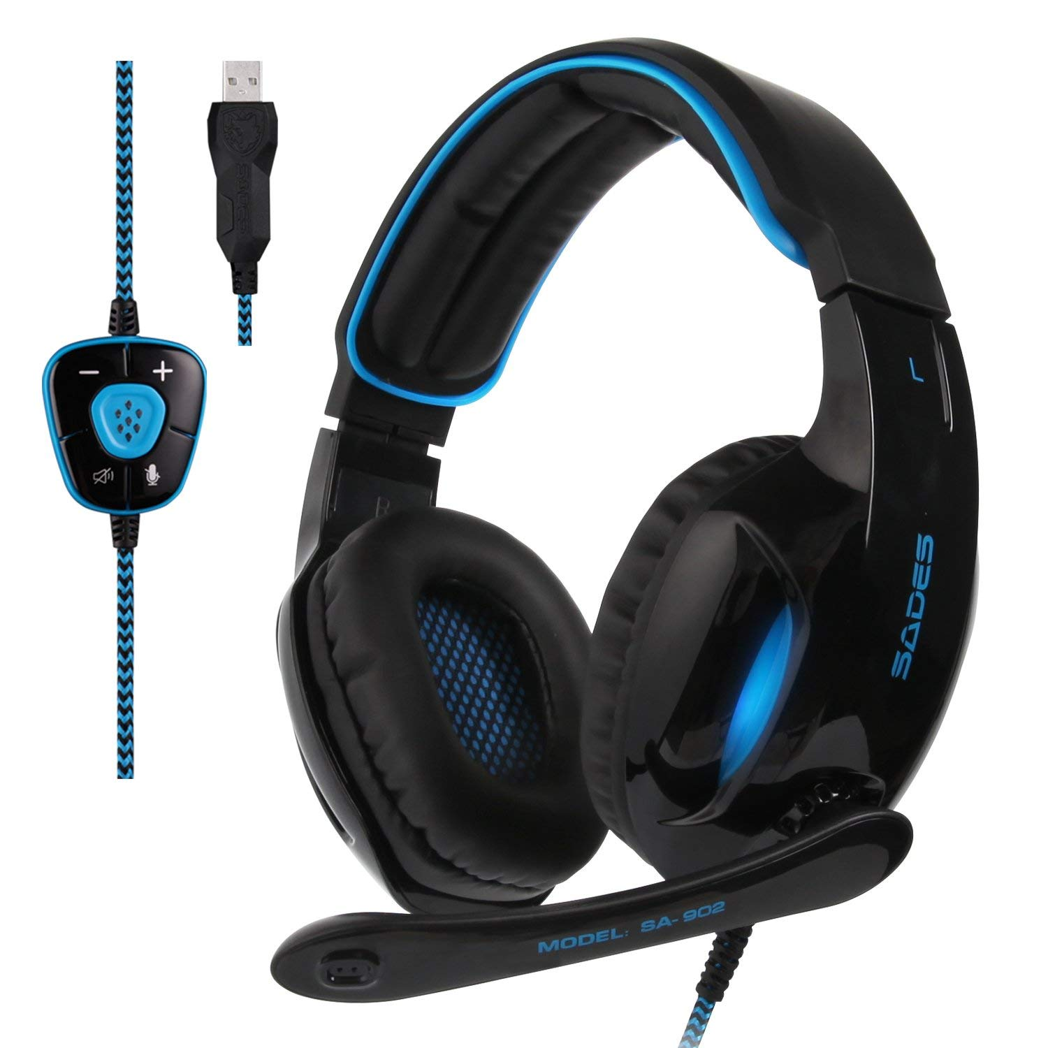 327ec1c2eb2 2017 Sades New Version SA902 Blue 7.1 Channel Virtual USB Surround Stereo  Wired PC Gaming Headset Over Ear Headphones with Microphone Revolution  Volume ...