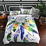 Koongso 3 Pieces Bohemian Dreamcatcher Duvet Cover Set Vibrant Watercolor Paint Indian Hippie Mandala with 2 Pillow shames