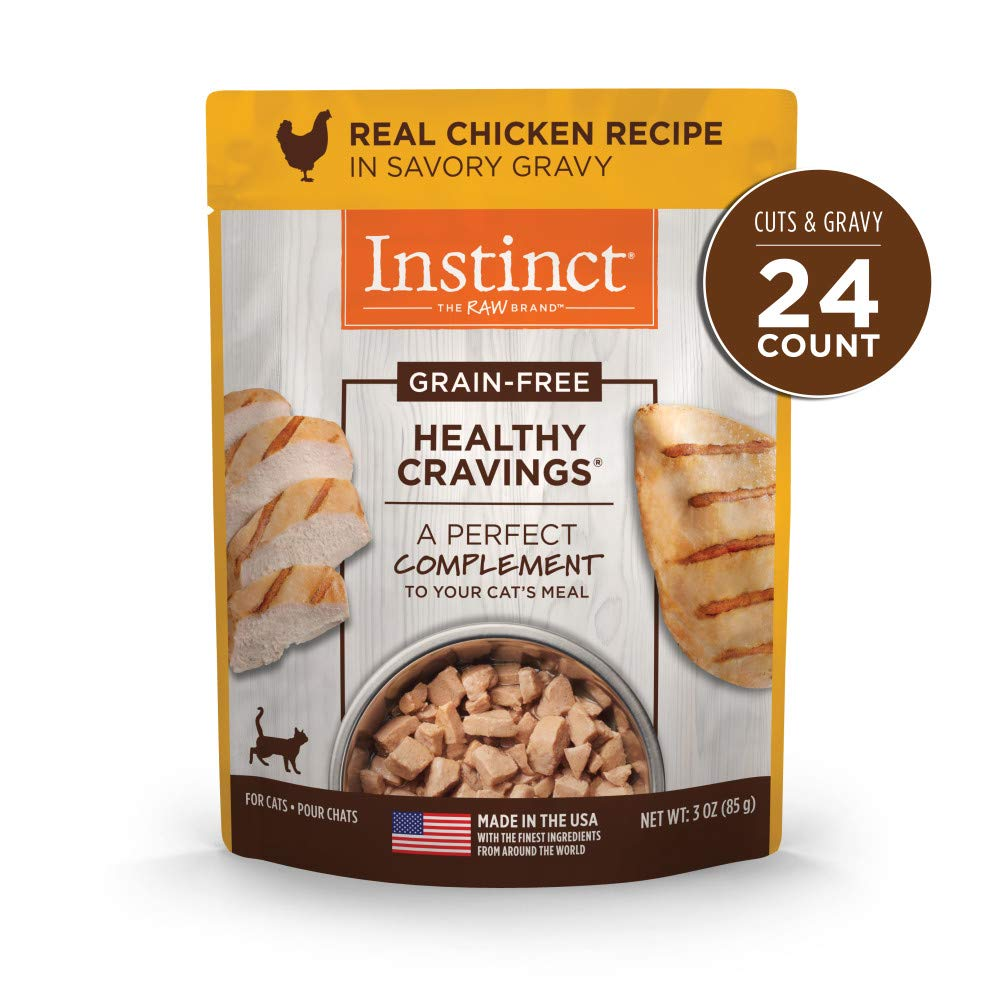 Instinct Healthy Cravings Grain Free Real Chicken Recipe Natural Wet Cat Food Topper by Nature's Variety, 3 oz. Pouches (Case of 24) by Instinct