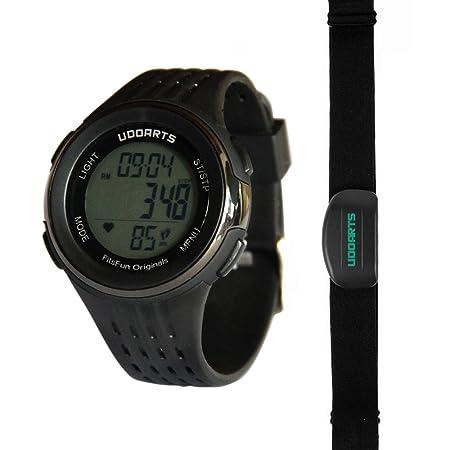 udoarts HRM con pulsómetro pedometer- reloj y correa para el pecho 2 ...