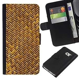 Samsung Galaxy S6 EDGE / SM-G925(NOT FOR S6!!!) Modelo colorido cuero carpeta tirón caso cubierta piel Holster Funda protección - Scales Gold Yellow Snake Bling Chevron