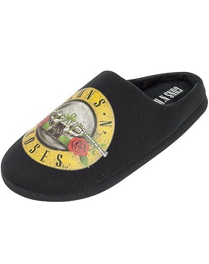 Guns N Roses Band Logo Bullet Mens Black Slippers