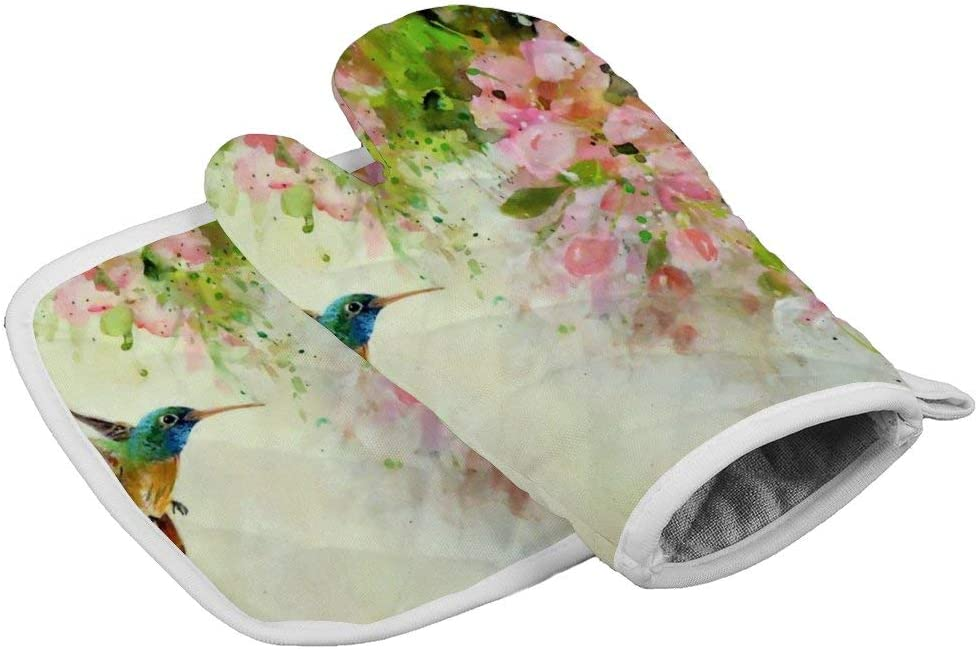 July-Seven Lovely Hummingbird and Pink Flowers Oven Mitts,Professional Heat Resistant Microwave BBQ Oven Insulation Thickening Cotton Gloves Baking Pot Mitts with Soft Inner Lining