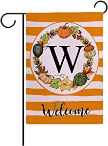 "7ColorRoom Autumn Decorative Garden Flags with Letter W/Pumpkin Wreath Double Sided Welcome Farmhouse Harvest Pumpkin House Yard Patio Outdoor Garden Flags Small Garden Flag 12.5"" x 18"" (Pumpkin W)"
