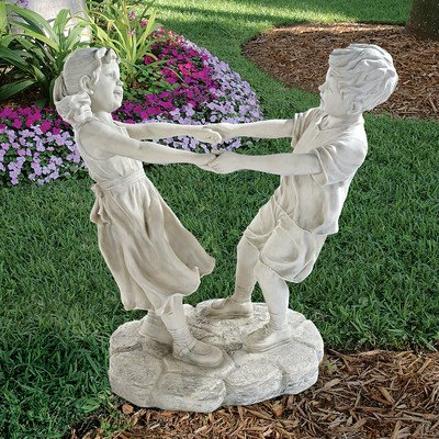 Design Toscano Little Girl and Boy Dancing Garden Statue, Grand, Antique Stone For Sale