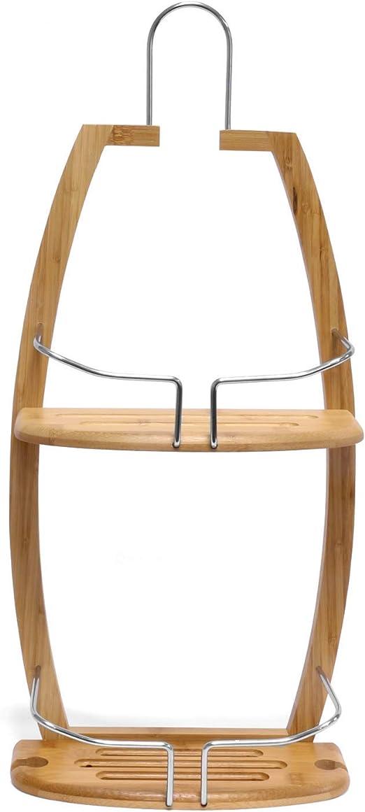 Estanter/ía de Ducha de bamb/ú para Colgar 62 x 27,5 x 13 cm Soporte para Ducha con 2 Compartimentos Armario de Almacenamiento para Productos de Ducha Jonas