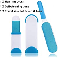 Pet Hair Remover Brush, Lint Brush Dog &Cat Fur Reusable Self-Cleaning Base -Double Sided Animal Hair Removal Tool + Travel Size Brush - for Clothes, Furniture, Couch, Carpet,Blue,smallandlarge