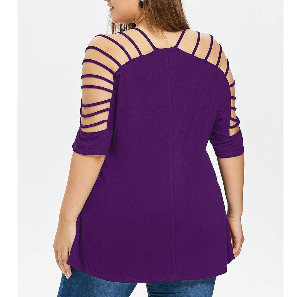 fc1f04047d3a9 Shirts for Teen Girls Plus Size Fashion Ladies V Neck Hollow Out Cut Out  Strappy T-Shirt Tops Casual Loose Blouse Purple at Amazon Women s Clothing  store