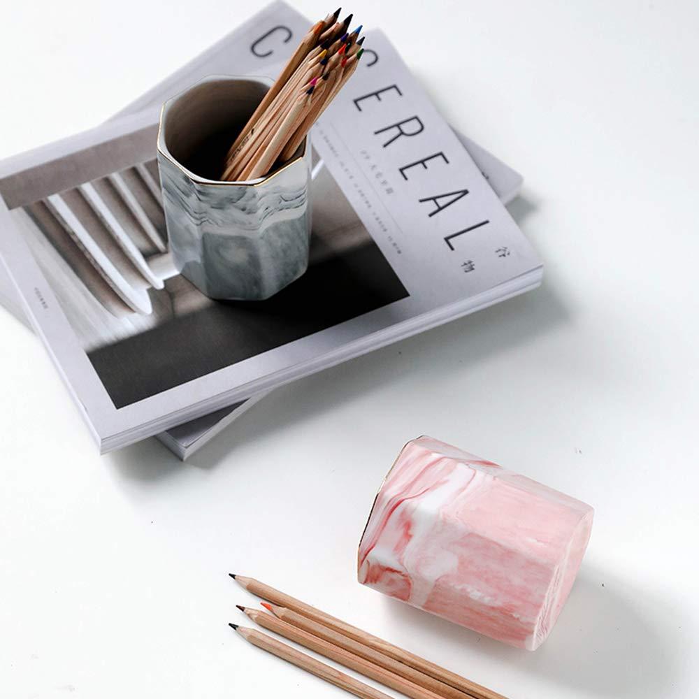 Yosco portapenne da scrivania in ceramica con motivo marmo rosa