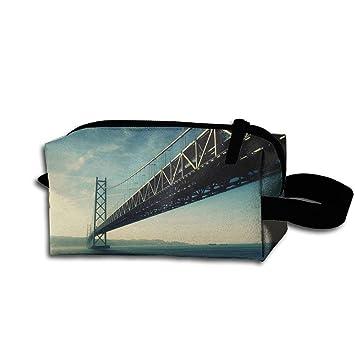 5c7b03ddce72 Amazon.com : Makeup Cosmetic Bag Architecture Cool Bridge Art ...
