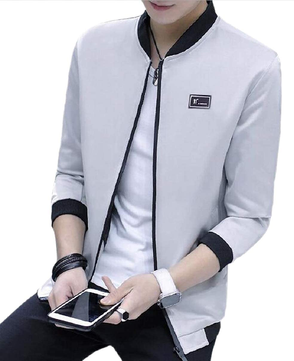 8980cbba1 Grey LEISHOP Men's Trench Thick Fleece Biker Stand Stand Stand ...