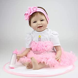 Jullyelegant Bambole realistiche del Bambino di rinascita del Fronte di Sorriso di 22 Pollici Bambole realistiche Vere di Bebe dei Bambini di rinascita dei Giocattoli con Il Bello Vestito