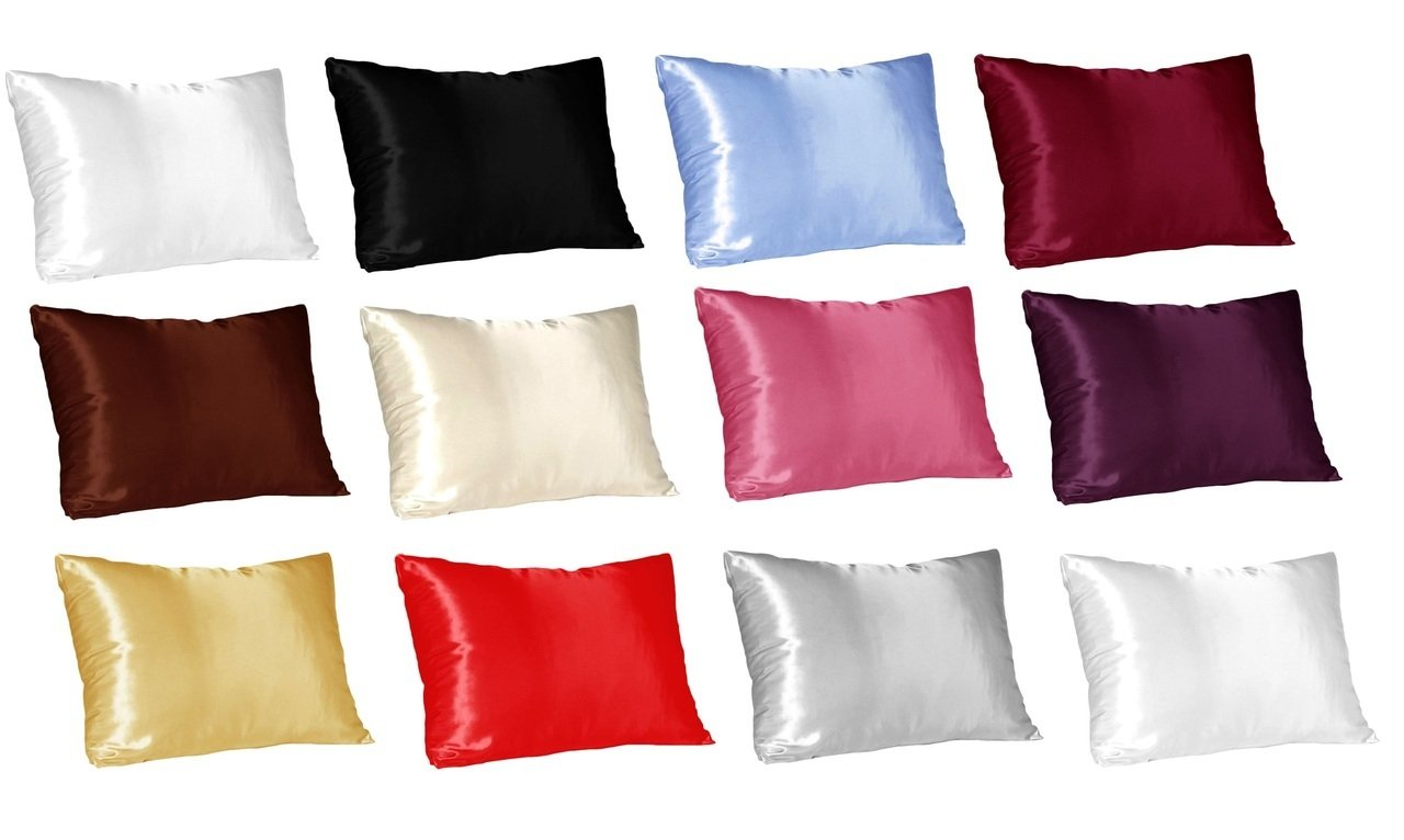 Morning Spa Super Soft Luxurious and Ultra Soft Silky Satin 2-Piece Pillowcases (Only 2 Pillowcases) by (King, Black)