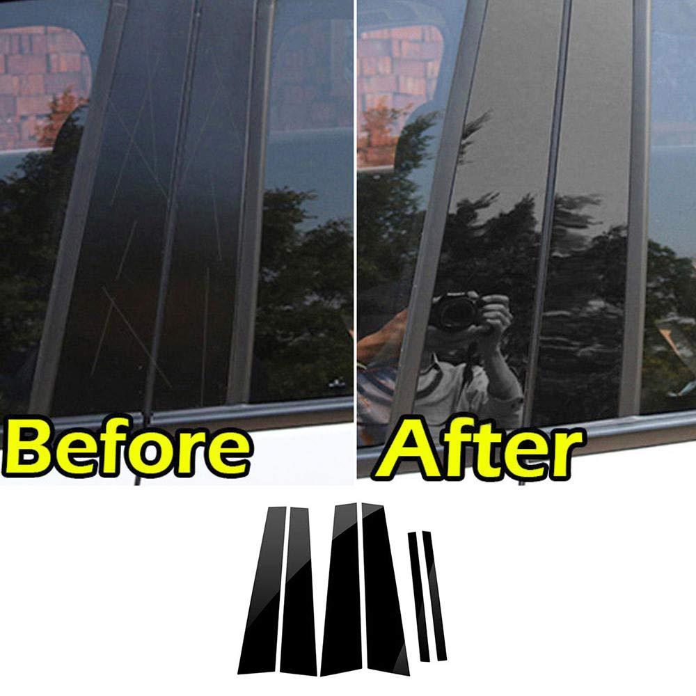 ReFaXi Black Pillar Posts Fit For Honda Accord 2008-2013 6pc Set Cover Door Trim Window