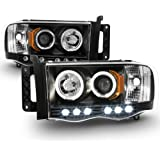ACANII - For 2002-2005 Dodge Ram 1500 2500 3500 LED Halo Ring Black Housing Projector Headlights Headlamps Assembly