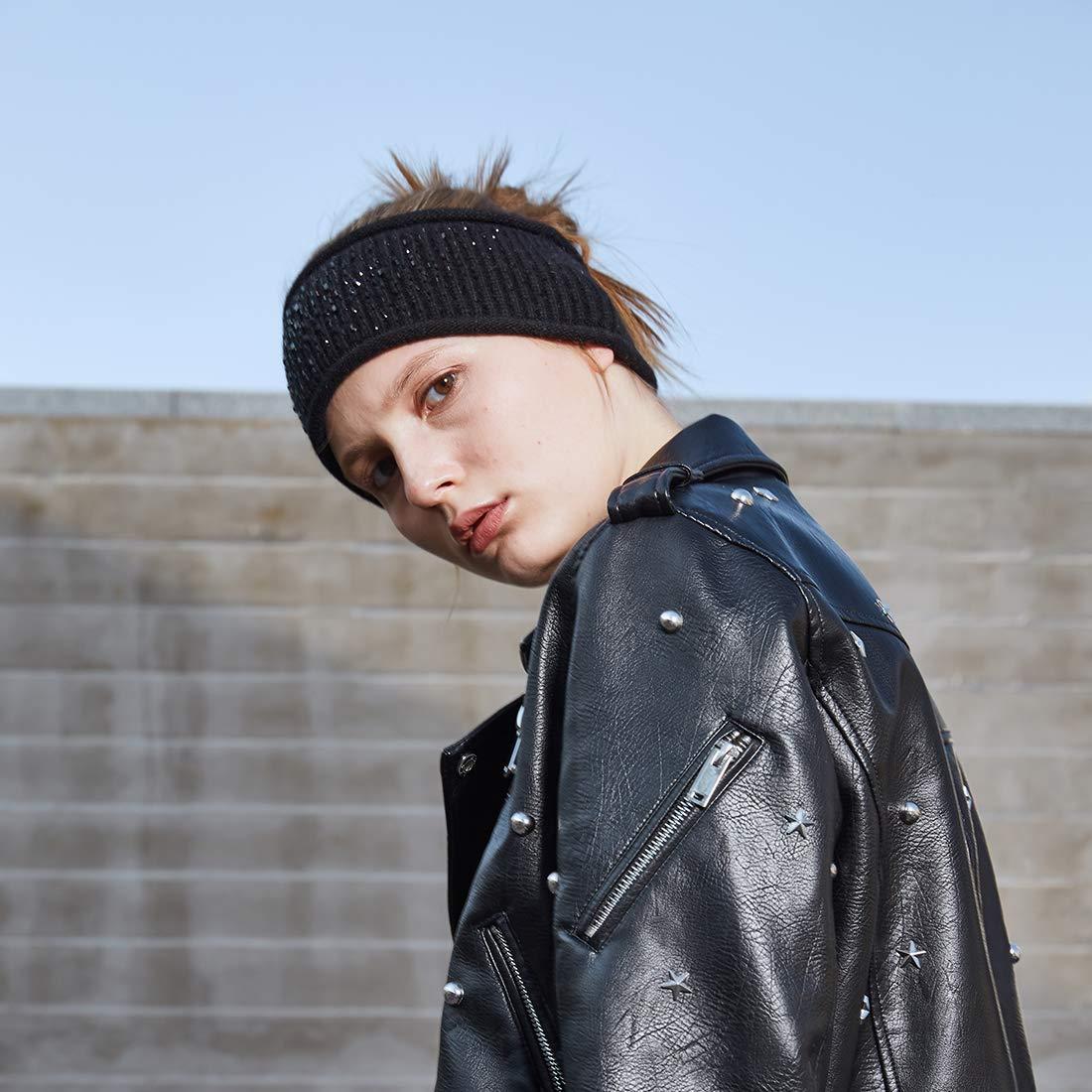 Yatoy-fascia per capelli in maglia di lana da donna con strass ... cb4e8ba6dd1d