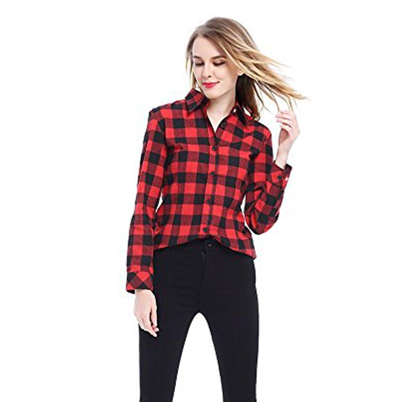 2edbb5cae1668c C.Cozami Women's Casual Checkered Red/Black/Maroon/Blue/White Shirt:  Amazon.in: Clothing & Accessories