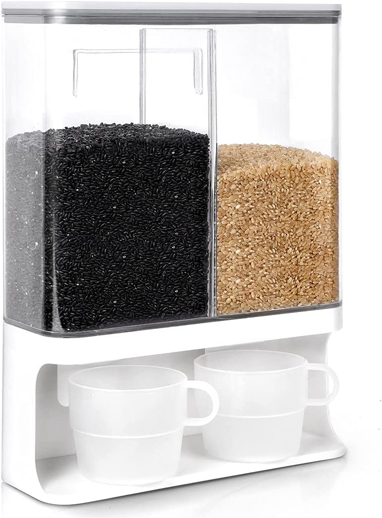 Conworld Rice Dispenser Container Wall Mounted Dry Food Storage Containe with Lid and Measuring Cup. Suitable for Millet, Black Rice, Corn, Coffee Beans and Other Small Grain