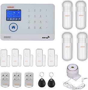 WIFI GSM Home Burglar Security Alarm System Wireless Kits APP Control RFID Card SMS Alert Panel Touch Voice LCD PIR Door Sensor
