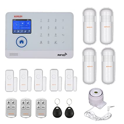 WIFI GSM Home Burglar Security Alarm System Wireless Kits APP Control RFID Card SMS Alert Panel Touch Voice LCD PIR Door Sensor