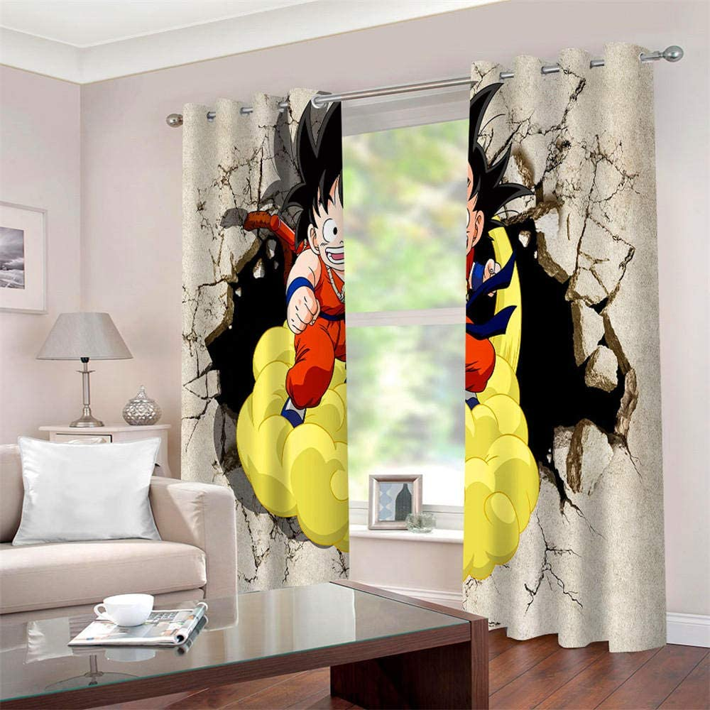 LLWERSJ Curtains Blackout Dragon Ball Monkey King Insulated Curtains Eyelet Printed Curtains Pencil Pleat Polyester Microfibre Childrens kitchen living room Bedroom 75x166cm x 2 pcs